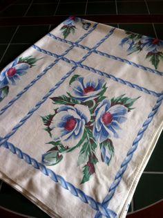 Vintage Table Cloth 1950s Blue Flowers White Linen