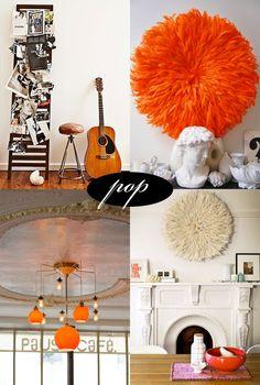 Little pops of orange in the home via SFgirlbybay blog
