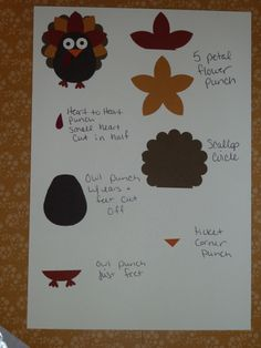 How to make a turkey with Stampin' Up! owl punch. While I don't have the five petal punch, I do believe that I have a die cut that would work.