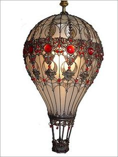 hot air balloons made from light bulbs | design steampunk Lamp light bulbs hot air balloon upcycled steam punk ...