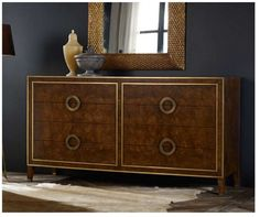 Retro Style Dresser in Burl Wood  Eight Drawers with Brass Detail