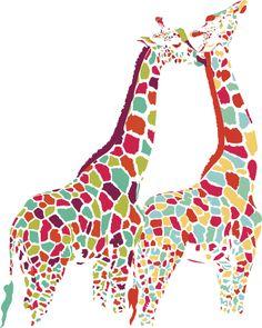 Colorful Giraffe Couple by ecom.deviantart.com on @deviantART