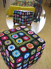 Granny-covered hassock by Elizabeth Cat - a must pin even though it is not a round roly poly
