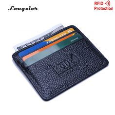 fa543f3706df4 RFID Blocking Slim Leather Wallet cow leather Front Pocket Credit Card Case  Card Holder With ID Window identity protection