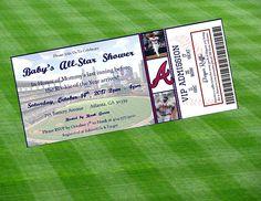 Atlanta Braves Inspired MLB Baseball Ticket Baby Shower