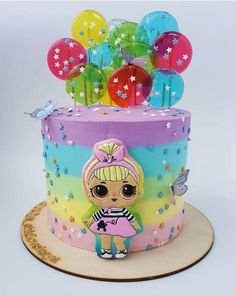 Ideas For Birthday Party Baby Girl Children Doll Birthday Cake, Girl Birthday, Birthday Crafts, Lol Doll Cake, Surprise Cake, Lol Dolls, Girl Cakes, Pretty Cakes, Creative Cakes