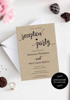 Articoli simili a Reception Party Invitation Template Custom Text Invitation Editable Calligraphy for Wedding Edit text prior purchase su Etsy wedding reception Reception Only Invitations, Wedding Party Invites, Reception Party, Laser Cut Wedding Invitations, Bridal Shower Invitations, Casual Wedding Reception, Engagement Invitations, Wedding Parties, Invitation Kits