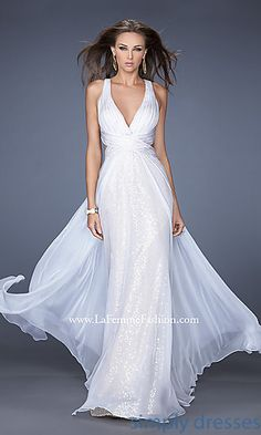 Sleeveless Low Cut V-Neck Gown by La Femme at SimplyDresses.com
