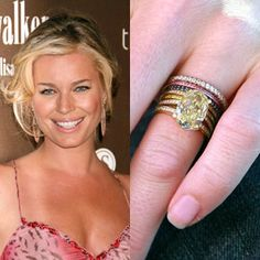 Rebecca Romijn has a 6 carat yellow diamond engagement ring, and after getting married stacked pink and blue micro-pave bands against it. https://www.facebook.com/SpitzJewelers