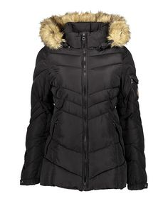 This Black Faux Fur-Trim Hooded Puffer Coat is perfect!  zulilyfinds Coat 5caed7d1471af