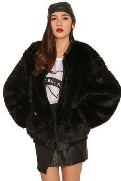 Human Potential Fur Bomber Jacket