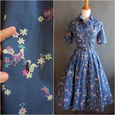 1950s bambi print dress walt disney bates disciplined novelty print dapper day
