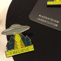 UFO Enamel Pin  I BELIEVE by LastCraft on Etsy