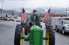 Jon Tester readies a John Deere tractor for the St. Patrick's Day parade in Butte.