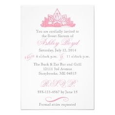 Pink Princess Sweet Sixteen Invitation