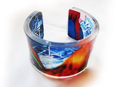 Rooster lady  - Transparent Acrylic Resin Bracelet Cuff Bangle with hand-printed art graphic image by youshidesign. Explore more products on http://youshidesign.etsy.com