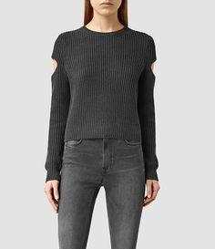ALLSAINTS US: Womens Ria Cropped Sweater (COAL BLACK) | Pretty Little Liars