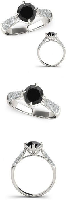 Other Engagement Rings 164308: 1 Carat Black Diamond Solitaire Cluster Marriage Fancy Women Ring 14K White Gold -> BUY IT NOW ONLY: $574.98 on eBay!
