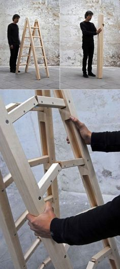 A TRUE Folding Ladder! the Corner Ladder by Company and Company the Barcelona-based design quartet comprised of Allan Legaspi Neus Company Juan Pablo Ospina and Jorge Freyre. Smart Furniture, Space Saving Furniture, Wood Furniture, Furniture Design, Deco Design, Wood Design, Woodworking Plans, Woodworking Projects, Woodworking Skills