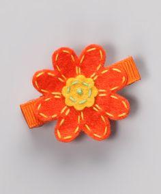 Orange Felt Daisy Clip
