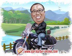 karikatur untuk harley davidson rider