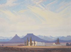 Jacobus Hendrik Pierneef, South African Karoo near Hofmeyer (detail), signed and dated, oil on board, 40 x Landscape Art, Landscape Paintings, Landscapes, Photo Sculpture, African Paintings, South African Art, Cool Art Drawings, View Image, Art Photography