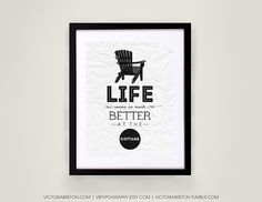 Life Seems So Much Better At The Cottage - 8x10, 11x17 Typography Print, Retro…