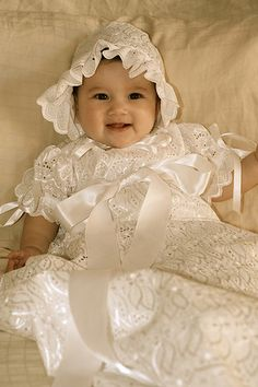 Elegant Christening Gown, Baptism Gown, Blessing Gown, Presentation Gown with Bonnet. $89.00, via Etsy.
