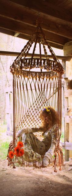 ❦ hanging chairs, beds, hammocks and lounges. Handmade OOAK Macrame Vintage Retro Style Hanging Woodstock Hippie Elf Fairy Swing Chair as seen on HGTV Junk Gypsy series Boho Lifestyle, Woodstock Hippies, Swinging Chair, Hammock Chair, Chair Swing, Diy Hammock, Hammock Swing, Porch Swing, Hippie Boho