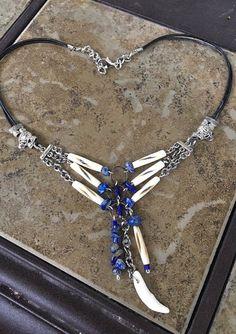 Handmade-Native American Inspired-Blue Lapis-Carved Bovine Bone-Tassel-Necklace #Choker