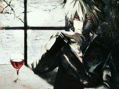 Red eye anime boy with vine glass?