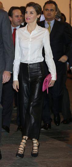 Under the coat, Doña Letizia wore a crisp white Hugo Boss 'Bashina' shirt. 35th ARCO International Contemporary Art Fair, Ifema, Madrid, Spain. 2.25.2016.