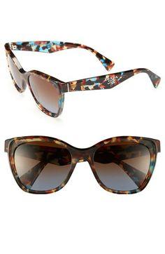 Prada Oversized Retro Sunglasses Tortoise Blue One Size