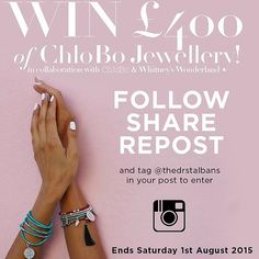 Only 3 days left to enter our incredible competition to win £400 worth of Chlobo jewellery! Follow us and repost this image! #competition #win #whitneyswonderland #chlobojewellery #chlobo #giveaway #repost #follow