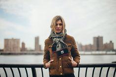 brown puffer w/knit scarf
