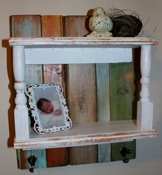 Neat little shelf, make with salvage wood and old staircase spindles - Beyond The Picket Fence