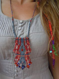 Long Macrame Necklace Hand knotted with native feel