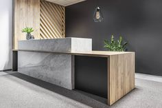 Gallery of Office Space in Poznan / ZONA Architekci 13 reception office reception desk stone timber screen inspiration The post Gallery of Office Space in Poznan / ZONA Architekci 13 appeared first on Design Ideas. Modern Reception Desk, Reception Desk Design, Lobby Reception, Reception Seating, Reception Areas, Office Reception Desks, Lounge Seating, Desk Office, We Work Office