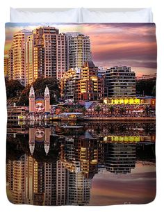 """Sunset Reflections 2 - Luna Park by Kaye Menner Queen (88"""" x 88"""") Duvet Cover by Kaye Menner"""