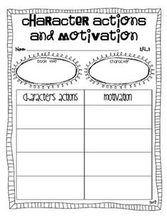 {freebie} character actions graphic organizer