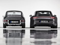 Beauty on the left, power on the right (Porsche 911 through 50 years).