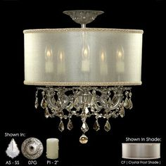 "5 Light Semi-Flush Mount  Candle Length: 2""  Precision accent crystals"