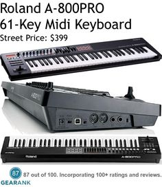 Roland A-800PRO 61-Key Midi Controller Keyboard.  Features: 61velocity-sensitive keys with after touch - 45 assignable controls including knobs, sliders, buttons, transport, and more - 8 dynamic pads for MIDI triggering Pitch Bend / Modulation stick - Port for Sustain and Expression pedal - USB bus powered