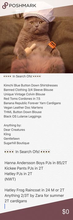  Things That I Am Looking For!  Hi! These are things I am looking for on Poshmark (among other things). Let me know if you have them so I can take a look! Or let me know if you have something similar or things you'd think I'd like. I love most things Modcloth, Anthropologie, Urban Outfitters and related clothing brands. Also always looking for cute 2T clothes for my son, especially if they have animals on them!  Brands I love:  Kling Compania Fantastica Pepaloves Miss Patina Toms…