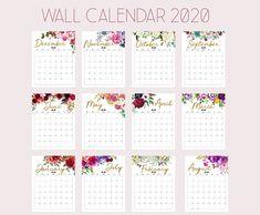 Printable Calendar 2020 Wall Calendar 2020 Desk Calendar, Floral Calendar, Beautiful Calendar Yearly Calendar Template, Printable Calendar 2020, Print Calendar, Calendar Wall, Free Calendar, Calendar Design, Graphic Design Magazine, Magazine Design, Holiday Planner