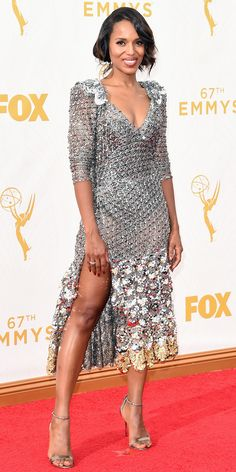 Metallic dot lace from Marc Jacobs was a daring choice from Kerry Washington, extravagant, elegant, end endlessly appealing. It's not that she needed a suit of armor, but her chic version of chainmail is ready for action.