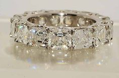 $165,500 10.71Ct Square Emerald Cut Diamond Eternity Wedding Band Platinum VS