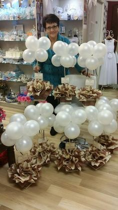 Wedding party baby shower christening balloon weights,table centrepieces and decorations tissue paper pompoms ..balloons not included Balloon Topiary, Balloon Flowers, Balloon Centerpieces, Baby Shower Centerpieces, Balloon Decorations, Birthday Party Decorations, Baby Shower Decorations, Birthday Parties, Wedding Decorations