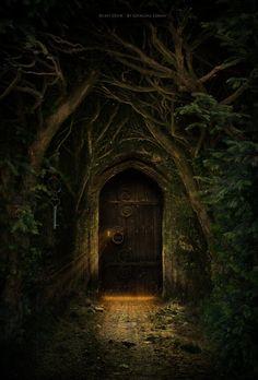 "heathenmom: "" Secret Door by "" There was magic behind the doors, she was sure of it…. Fantasy World, Fantasy Art, Fantasy Landscape, Faeries, Magick, Enchanted, Portal, Fairy Tales, Scenery"