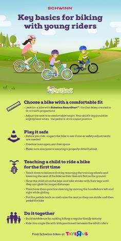 """Key Basics for Biking with Young Riders: Learn how to choose the right bike, safety tips and how to teach your child to ride a bike for the first time. Brought to you by Toys """"R"""" Us and Schwinn. Bike Riding Tips, Toys R Us, Safety Tips, Outdoor Fun, Parenting Advice, Activities For Kids, Creative Activities, Outdoor Activities, Teaching Kids"""